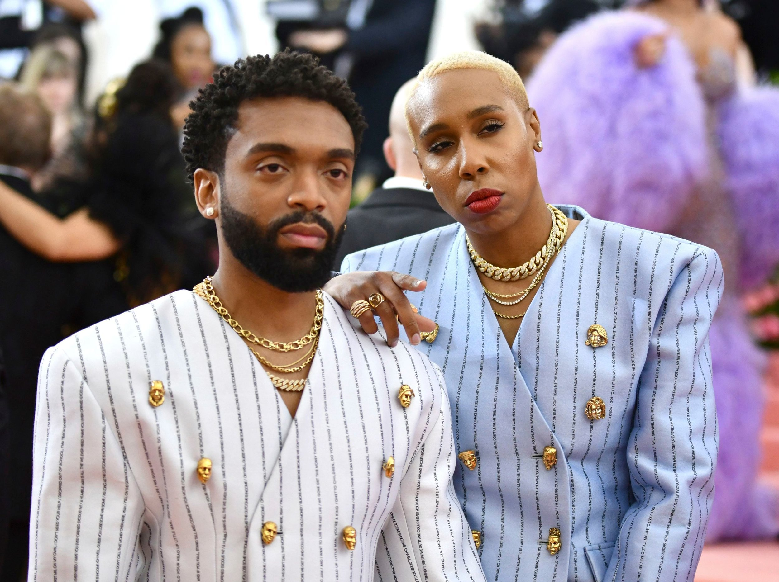 Kerby Jean-Raymond and Lena Waithe in Custom Pyer Moss