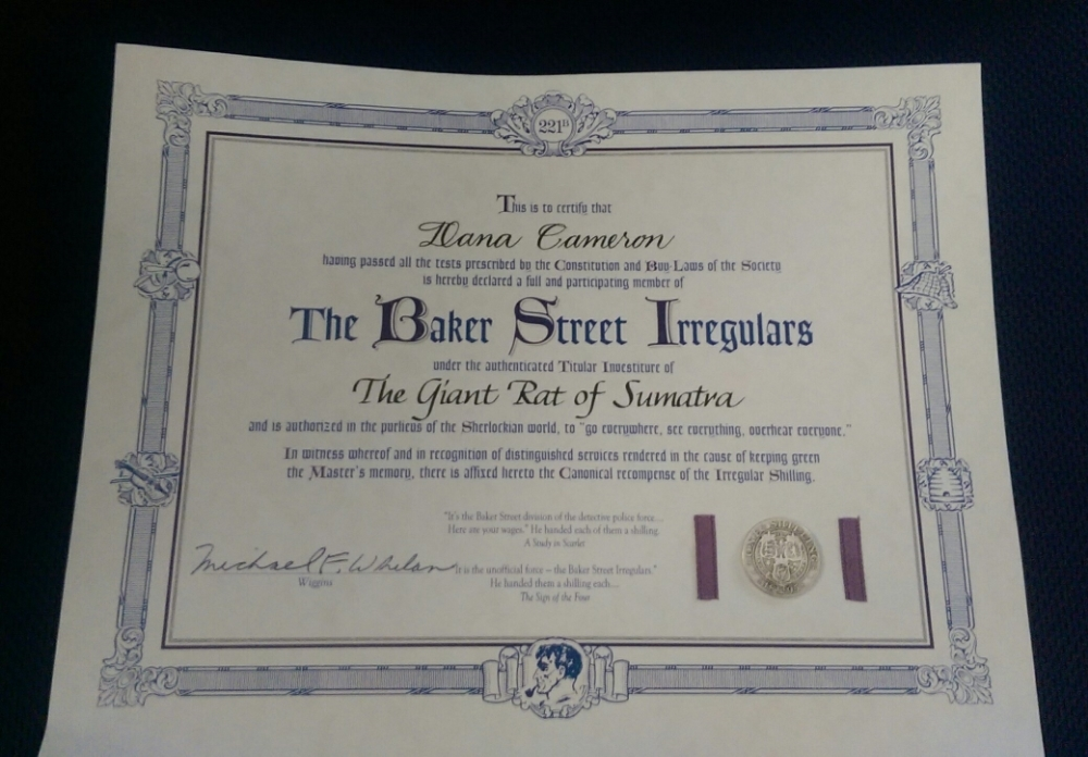 "Investiture certificate: I am ""The Giant Rat of Sumatra!"""