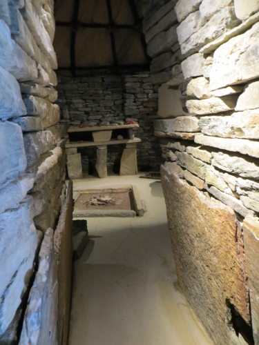 ...you can get an idea of what it was like to live here, from this reconstruction.  Note the roof of hides.