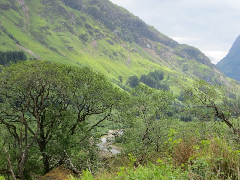 Glencoe, Scotland, which was lovely even when it started raining.  This is right before.