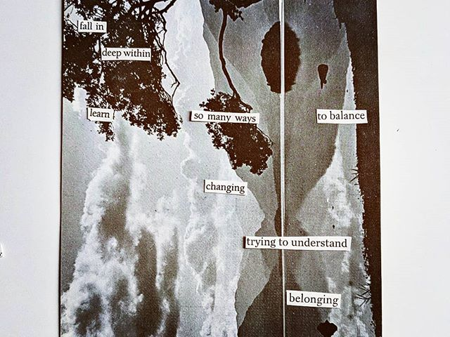 fall in deep within . . . . #poetry #collage #handcut #analog #visualpoetry #art #cutandpaste #paperart #belonging #trying #practice #deepwithin