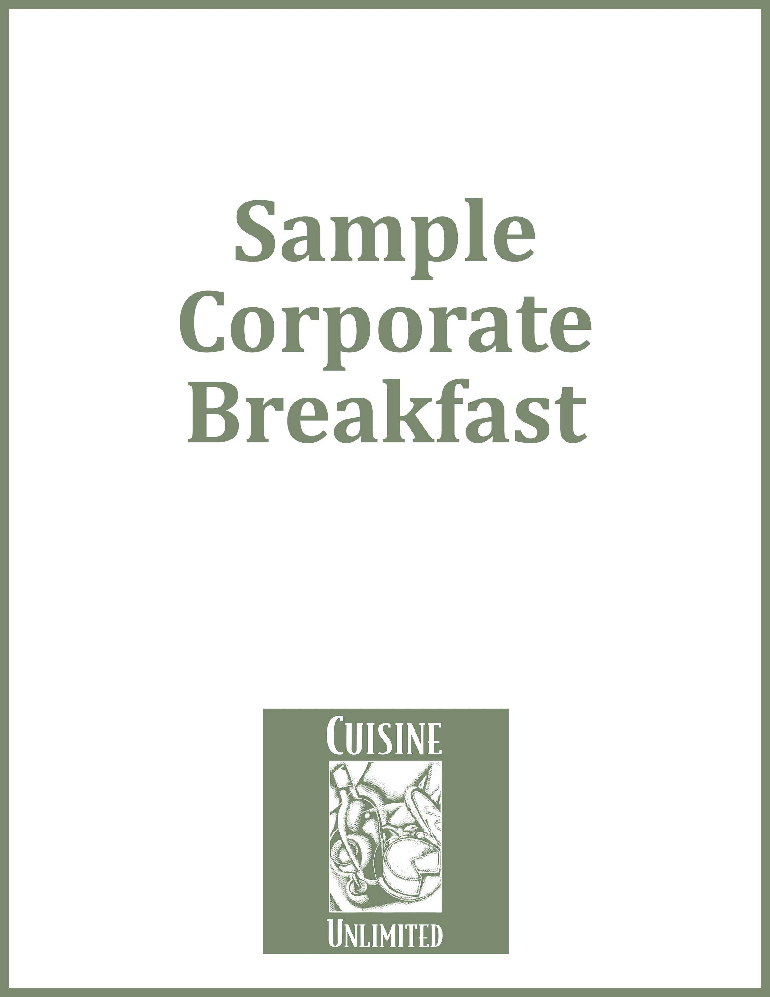 Sample Corporate Breakfast