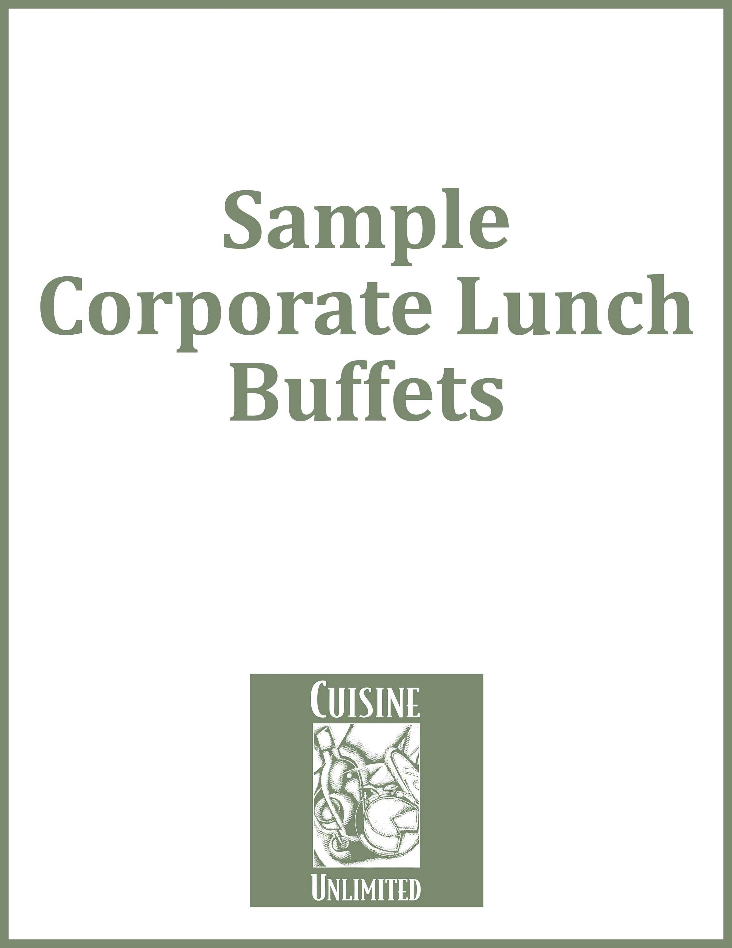 Sample Corporate Lunch Buffets