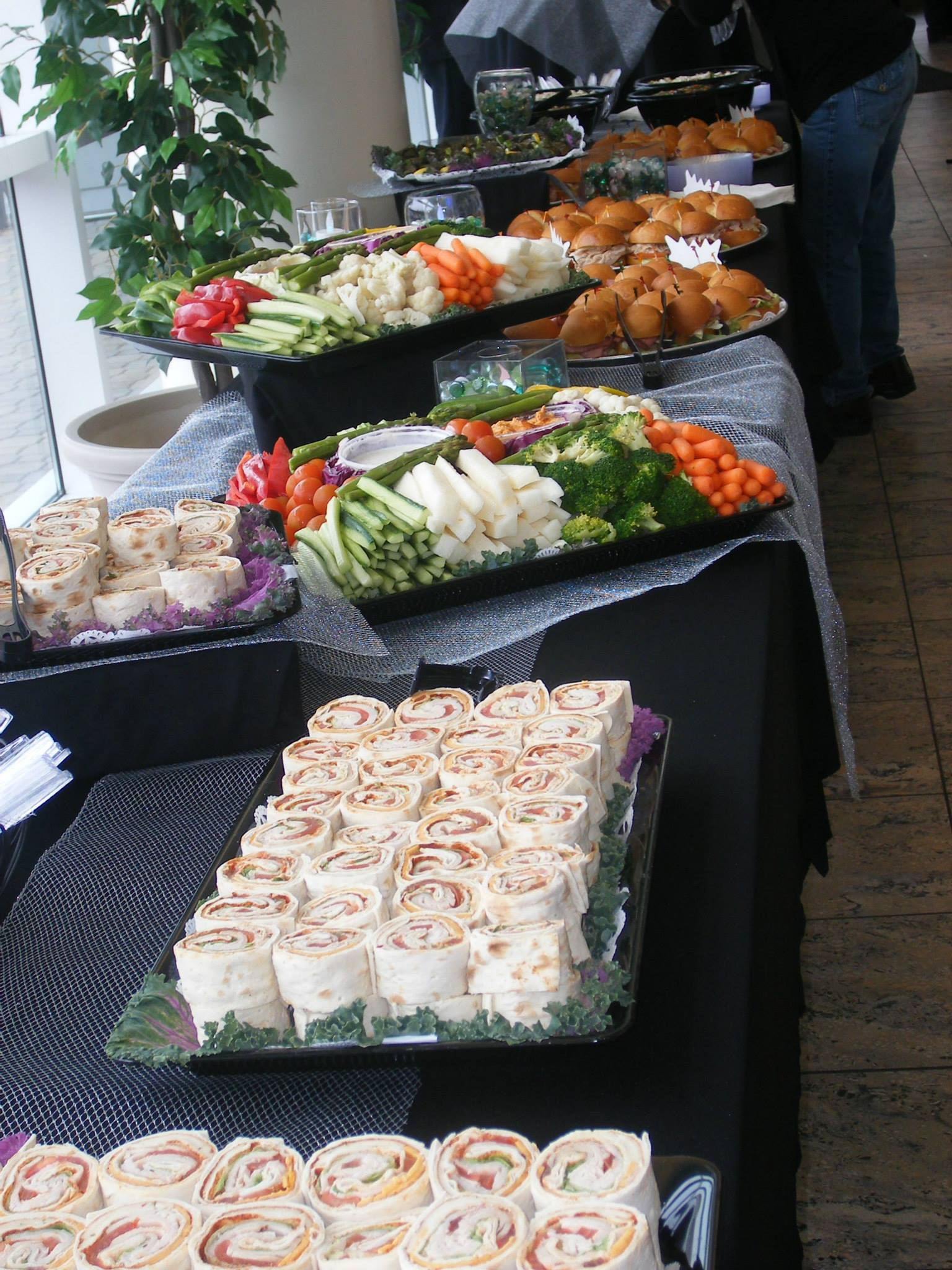 Catering featuring lavash wraps and veggies