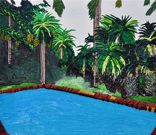 Pools and Palms, 2014, Oil on Canvas, 31 x 27 inches