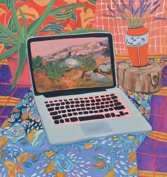 Laptop with Landscape, 2014, oil on canvas, 32 x 30 inches