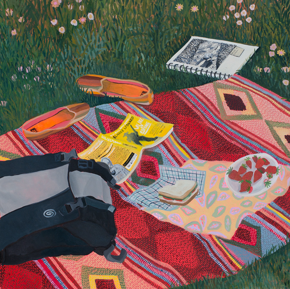 Picnic, 2014, oil on canvas, 42 x 42 inches