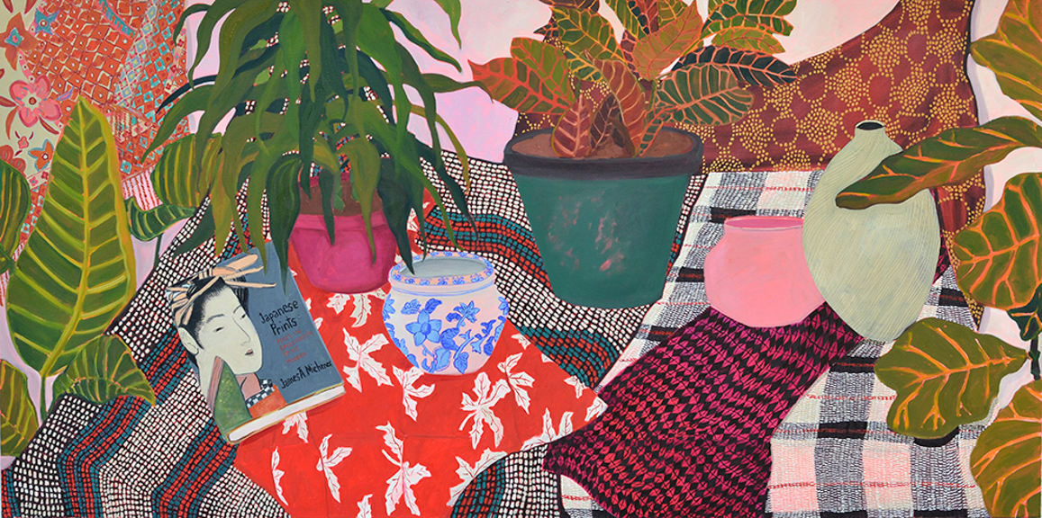 Plants and Patterns, 2015, oil on canvas, 36 x 72 inches