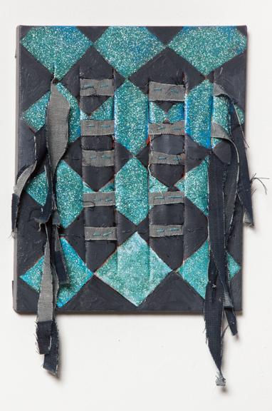Argyle Fringe, 2014, Acrylic paint, glitter, and fabric on canvas, 8 x 12 inches
