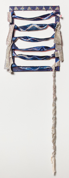 Slinky Tassel, 2014, Acrylic paint, fabric, and glitter on canvas, 20 x 60 inches