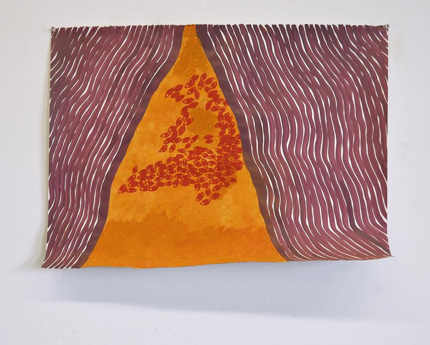 Migration, 2015, Turmeric powder, wax tempera on paper, 20 x 30 inches