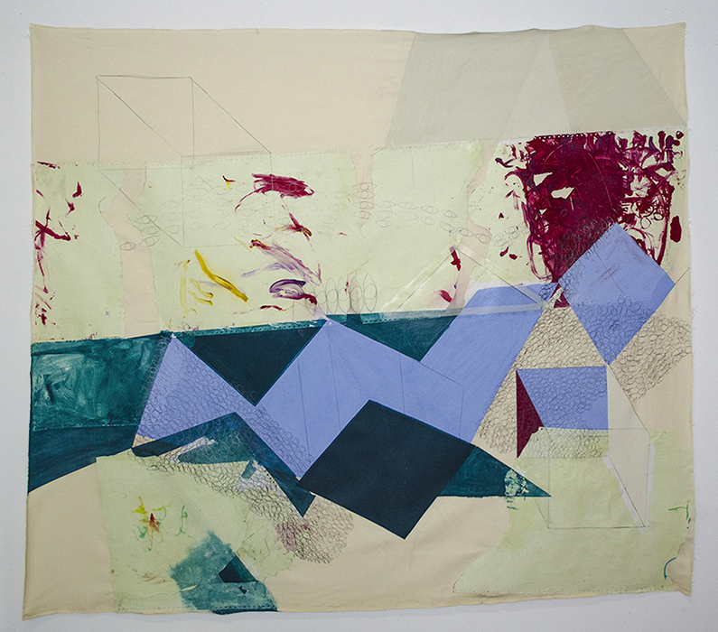Oh Lailah, 2013-2014, Acrylic, collage, red chili powder, and graphite on canvas, 6 x 6 feet