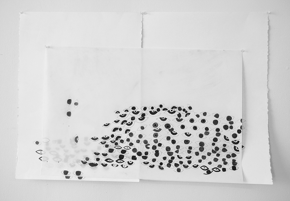 Stare Back, 2015, Graphite on paper and duralar, 30 x 40 inches