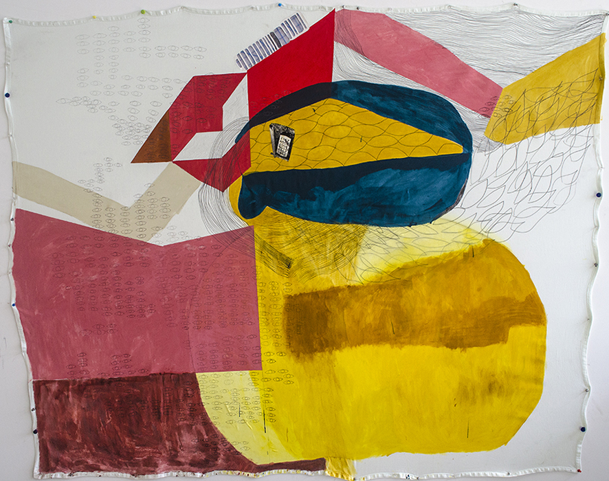 Eyes on Eyes on Eyes, 2013, Turmeric, red chili powder, fennel seeds, latex, and  mixed media on unprimed khaki, 8 x 8 Feet