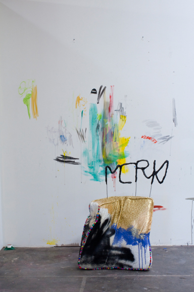 Merk, 2014, Fabric, resin, paint, paper mache, wire, gold leaf, glitter, found objects, 36 x 24 x 12 inches