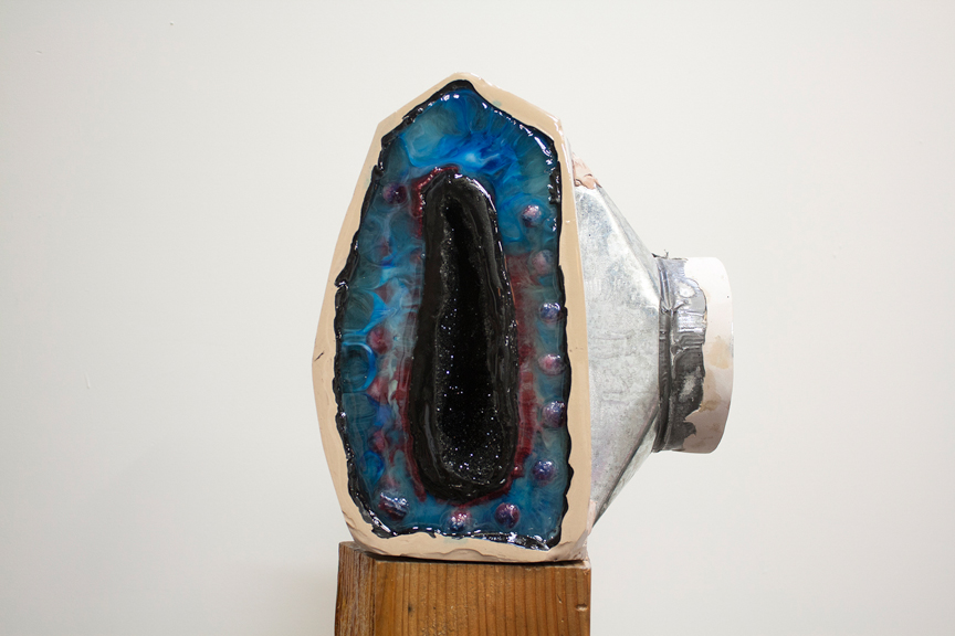 Lori and George (front), 2014, Found object, bondo,resin, lace, paper mache', glitter, paint, wood, 14 x 12 x 10 inches (sculpture) 32.5 x 7.5 x 3.5 inches (base)