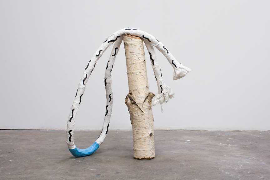 Songs of Love and Despair, 2014, Found wood, plaster bandage, wire, cotton, paint, silicone, 20 x 20 x 9 inches