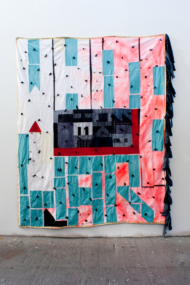 White Liar, Black Hell, 2013, Fabric, thread, batting, paint. 84 x 72 inches