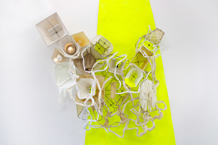 Deconstructed Light Bulb Armor, 2014, Lampshades, light bulbs, yarn, paint on canvas, 102 x 96 x 24 inches