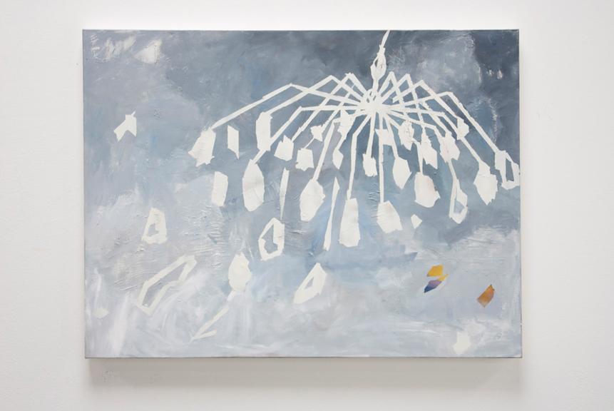 Imposition, 2014, Acrylic, oil, thread on canvas, 30 x 40 inches