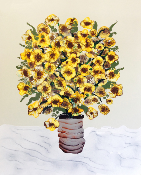 Sunflowers in Rusted Can, 2015, Acrylic, oil spray paint on panel, 38 x 44 inches