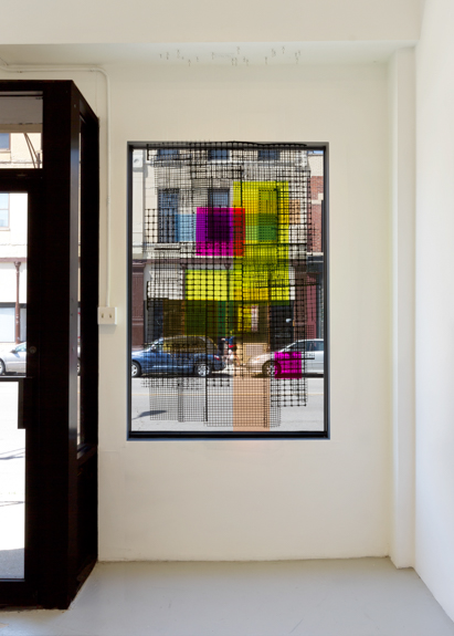 chameleon blind, 2014 Plastic fencing, egg crate light grid, spray paint and plexiglass,  69.5 x 47 inches