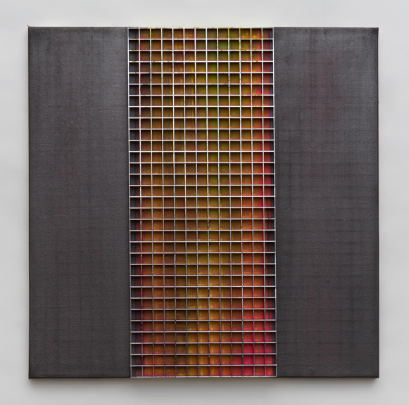 diffuse (3), 2014, Egg crate light grid, spray paint and graphite on canvas, 24 x 24