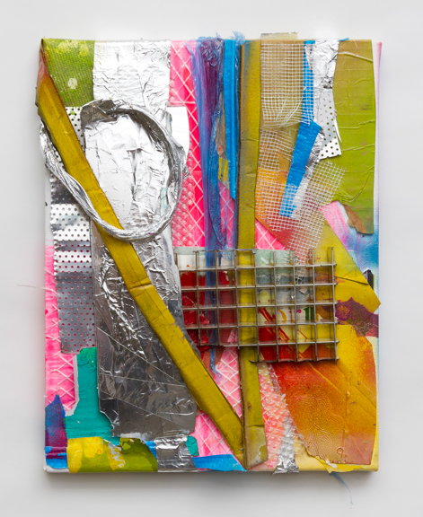 fake and real things (13), 2013, Spray Paint, acrylic, tape and other found residues on canvas, 14 x 11 inches