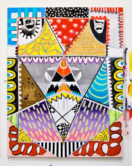 ⌐◄◄◄◙φ◙φ◙►►►¬ 2014, Synthetic polymer, spray paint, colored pencil, paper on canvas, 70 x 54 inches