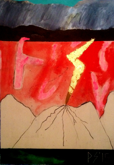 Mountain Hit by Lightning, 2015, Acrylic, watercolor, marker, charcoal on canvas, 48 x 36 inches