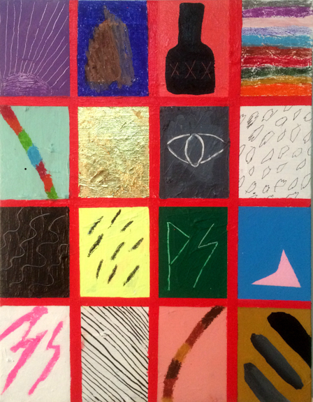 Red Grid Catalog, 2015, Mixed media on canvas, 18 x 14 inches