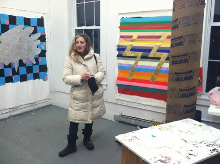 Polly in her studio at The Vermont Studio Center in Johnson, Vermont