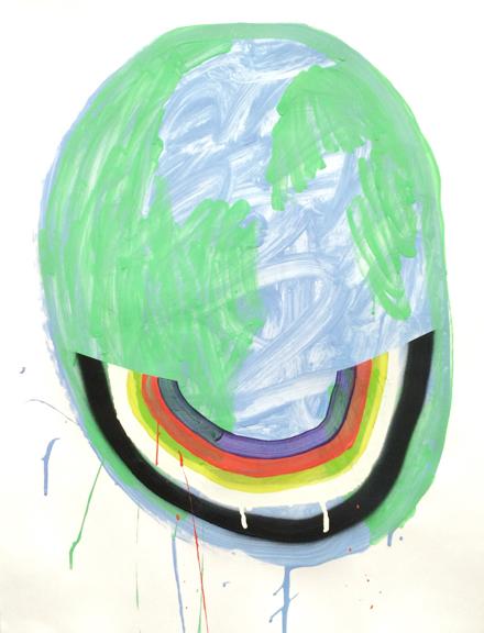 Halfpipe, 2015, Acrylic, Spray Paint, Glitter, Vinyl Paint on paper, 24 x 19 inches