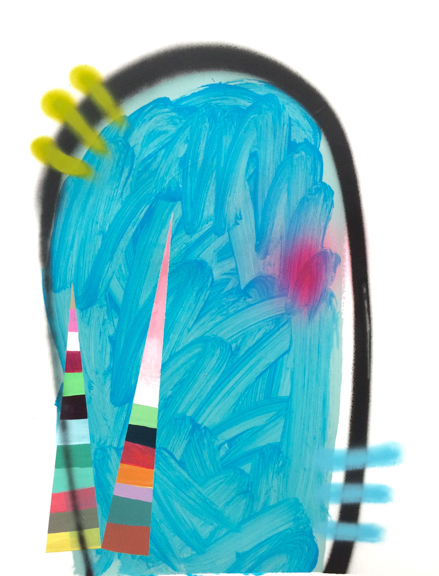 Poolside, 2015, Acrylic, Spray Paint, Vinyl Paint on Paper, 24 x 19 inches