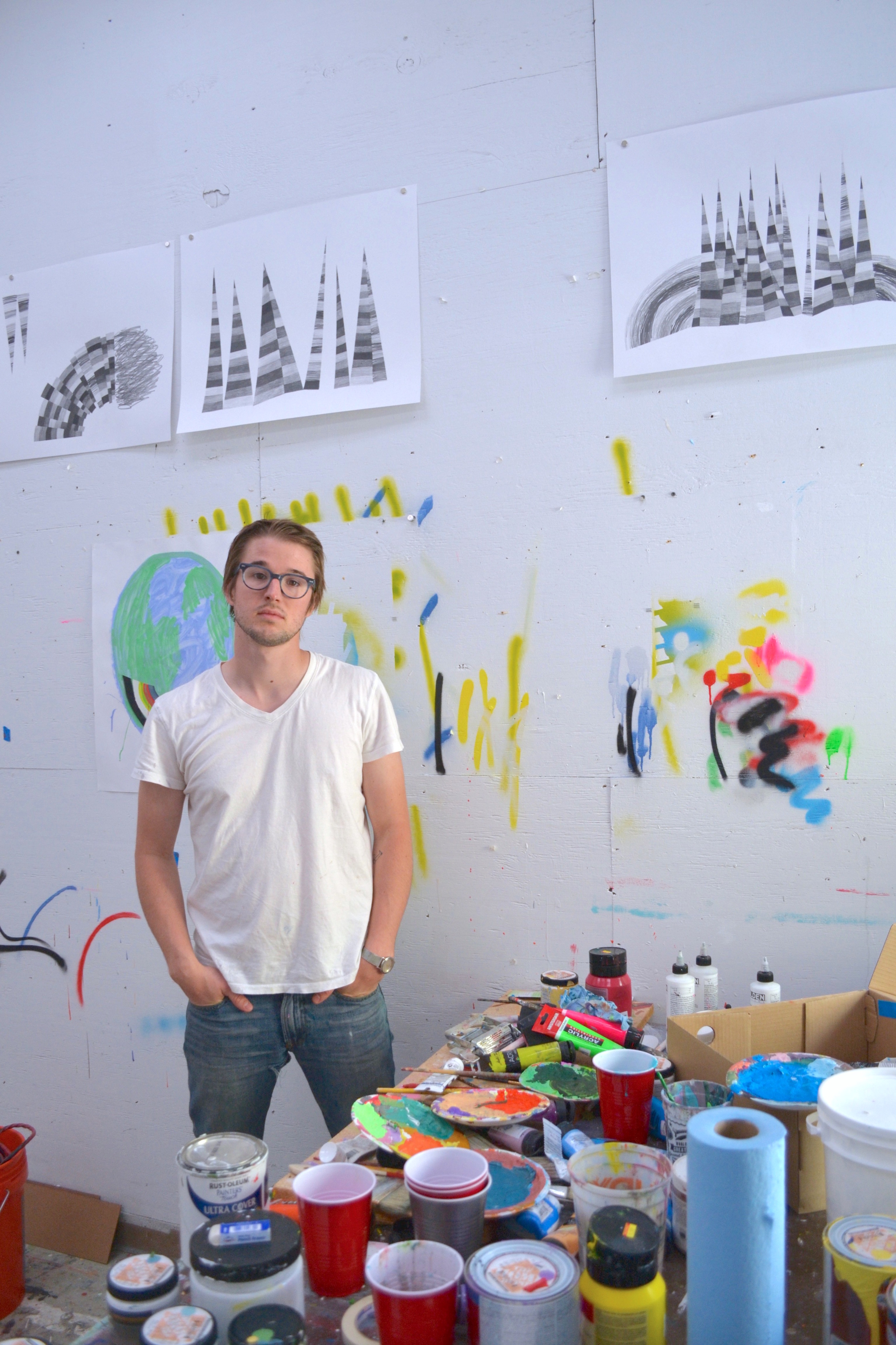Benjamin in his studio at the University of Illinois Urbana-Champaign.