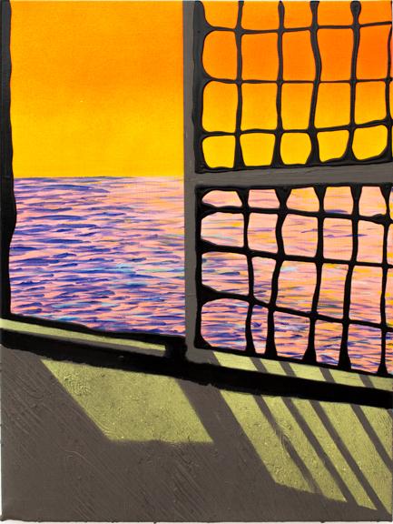 12.Adrift, 2014, Oil, acrylic, enamel & spray paint, 11 x 14 inches