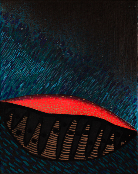 2.Magma, 2015, Acrylic, gouache, enamel, paint pen & flocking on canvas, 8 x 10 inches