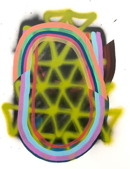 Untitled, 2015, Acrylic spray paint, vinyl paint on paper