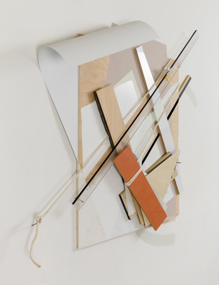 Bound Arrangement, 2013, Wood, plexiglass, cotton rope, laminate, foam, nails, acrylic, and hair clip on wall, 60 x 63 x 6in