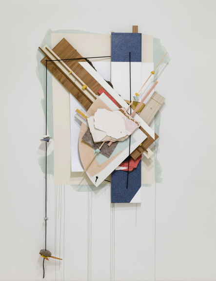 Holding Arms, 2014, Wood, laminate, drywall, acrylic, foam, plastic, fiberglass, rock, and hair tie on wall, 90 x 48 x 6in