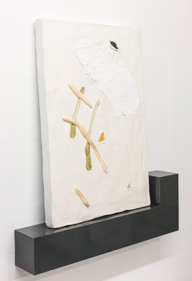 Show Off, 2015, Plaster, acrylic, foam, laminate, and wood, 36 x 43 x 6 in