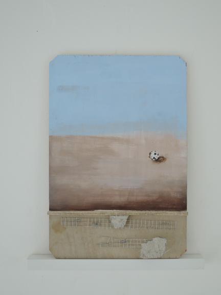"""Cascara, 2015, Casein Concrete, metal on wood 7 x 14"""""""