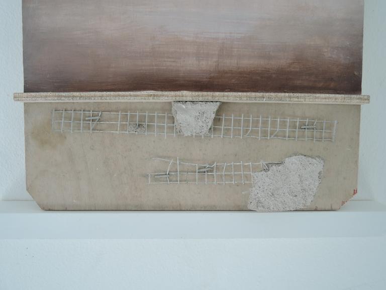 """Cascara (detail), Casein, Concrete, Metal, on wood, 7 x 14"""""""