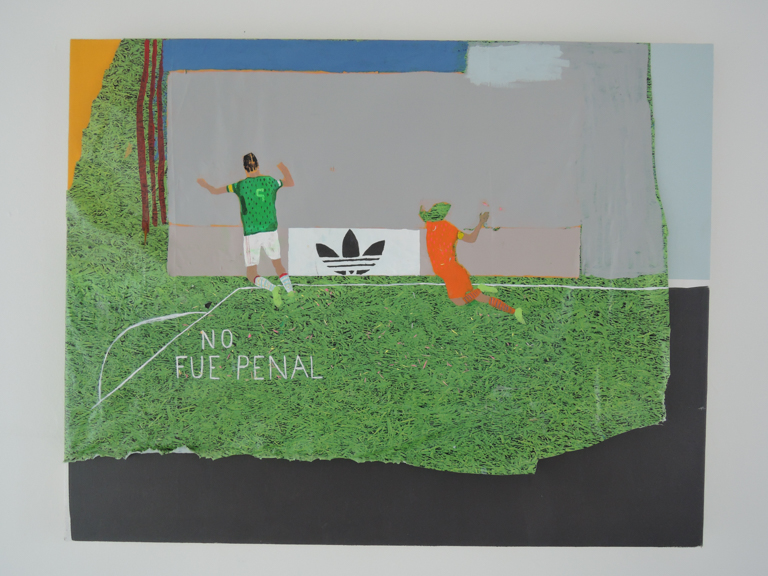 """No Fue Penal, 2014, Acrylic, faux grass table cover on canvas, 28 x 22"""""""
