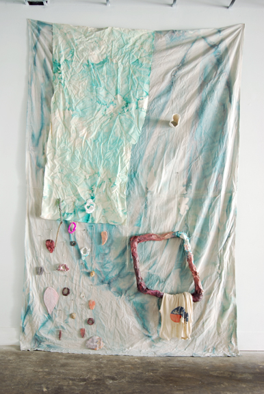 Three Dreams of Drowning #1, 2015, Dyed canvas dropcloth, plaster, salt dough, sticks, paper mache, acrylic, watercolor, gouache, latex paint, string, ball chain, pins, nails, t-shirt and three dimensional floor components on wood plinths, 9 x 6 feet