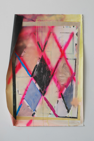 Highway of Diamonds, 2013 Acrylic, spray paint, gouache, latex, image transfer, graphite powder and staples on paper, 44 ½ x 30 ½ x 4 inches