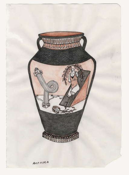 Amphora: Modern Aphrodite Psychic Landscape, 2015, Colored pencil and watercolor on paper, 5 3/4 x 8 1/4 inches