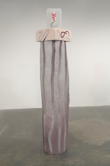 Modern Aphrodite on Ombre Column, 2014, Sculptamold, air­dry clay, latex pigment, pine, silicone, Ikea storage bins, 5 feet 2 inches x 10 inches x 10 inches