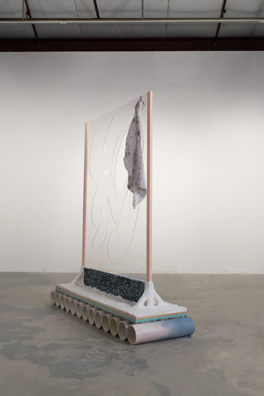 "Waterfall/Window for Odysseus 1, 2014, PVC, spray paint, carpet padding, insulation foam, sculptamold, pine, plexiglass, cotton 5'4.25"" x 3'10"" x 17"""