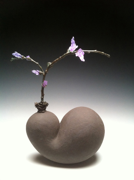 """French Bud, 2013, ceramic, bronze & glass, 16"""" x 11"""" x 7"""""""